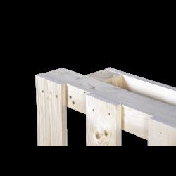 Palet de madera con envigado - detalle de repisa de pie