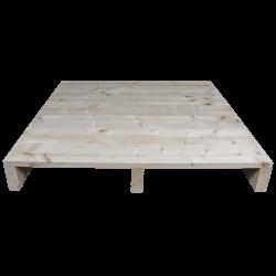Palete de madeira de duas entradas leve - Frente aplainada sem espaço entre as placas