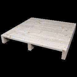 Palette en bois à deux entrées léger - Façade rabotée sans espace entre les panneaux latéraux 2