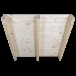 Pallet in legno a 2 vie leggero - Frontale piallato senza spazio tra tavole in piedi posteriore 2