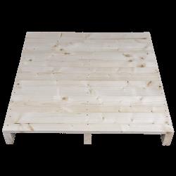 Palete de madeira de duas entradas leve - Frente aplainada sem espaço entre as placas de cima