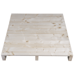 Pallet in legno a 2 vie leggero - Frontale piallato senza spazio tra tavole dall'alto