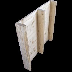 Pallet in legno a 2 vie leggero - Frontale piallato senza spazio tra tavole in piedi posteriore