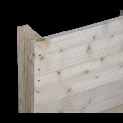 Pallet in legno a 2 vie leggero - Frontale piallato senza spazio tra tavole in piedi laterale