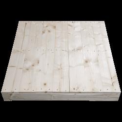 Palette en bois à deux entrées léger - Façade rabotée sans espace entre les planches sur le côté court