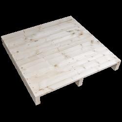 Pallet in legno a 2 vie leggero - Frontale piallato senza spazio tra tavole laterale