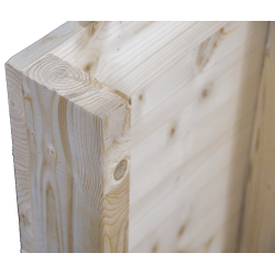 Palete de madeira de duas entradas leve - Frontal aplainado sem espaço entre as tábuas no pé do canto traseiro
