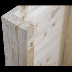 Pallet in legno a 2 vie leggero - Frontale piallato senza spazio tra tavole in piedi posteriore angolo