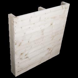 Pallet in legno a 2 vie leggero - Frontale piallato senza spazio tra tavole in piedi laterale 2