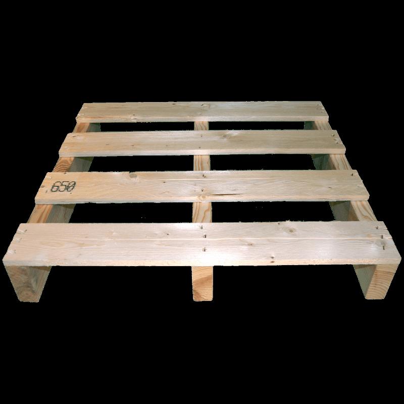 Palete de madeira de duas entradas leve - Frente não aplainada