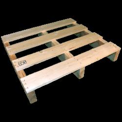 Palette en bois à deux entrées léger - Côté avant gauche non raboté