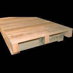 Palete de madeira com contraficha - Lado não aplainado em plano contínuo