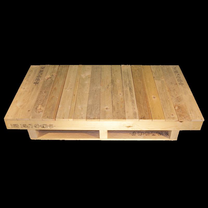 Palet de madera con envigado - Frente sin cepillar con superficie continua