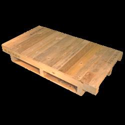 Schwerlastpalette aus Holz - Ungeplante Front mit durchgehender Oberfläche