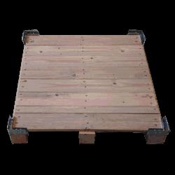 Détail de la base de la palette - Boite en bois contre-plaqué vtt