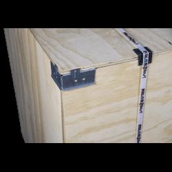 Detalle de la esquina superior izquierda - Caja de madera contrachapada vtt