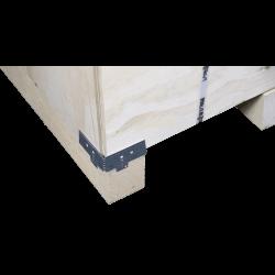 Detalle de la esquina inferior izquierda - Caja de madera contrachapada vtt