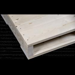 Détail côté raboté gauche - Palette en bois à deux entrées