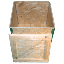 Cassa in legno osb pieghevole - Frontale coperchio aperto