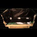 Cassa travata - Frontale lato e coperchio aperti + sacco barriera