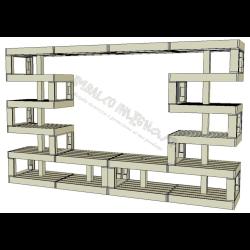 Modular Pallet Panchina Parete attrezzata W-MP-PARETEATTREZZATA