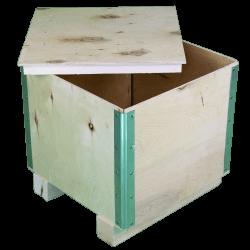 Cassa in legno compensato pieghevole - Laterale destro con coperchio