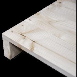 Palette en bois à deux entrées léger - Façade rabotée sans espace entre les planches d'angle