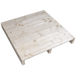 Palette en bois à deux entrées léger - Façade rabotée sans espace entre les panneaux latéraux