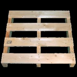 Palette en bois à deux entrées léger - Avant de haut non raboté